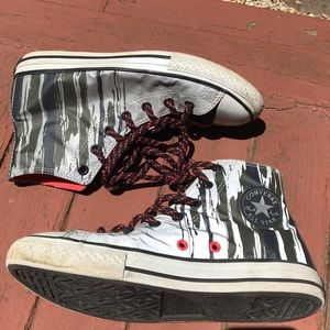 Converse silver high tops with khaki drips size 6